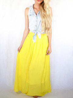 Color De Talle Alto De La Falda Maxi - Amarillo Xl