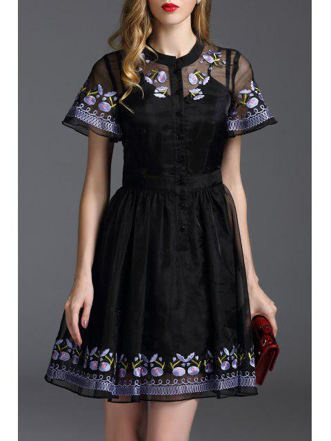 unique Floral Embroidered Mini Fit and Flare Dress - BLACK L Mobile