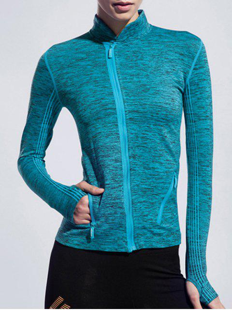 outfits Stand Collar Space-Dyed Long Sleeve Jacket - LAKE BLUE L Mobile