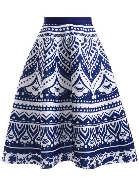 Taille haute porcelaine bleue et blanche Jupe imprimée - Bleu et Blanc Taille Unique Mobile
