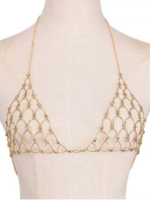 shops Rhinestone Bra Triangle Body Jewelry - GOLDEN  Mobile