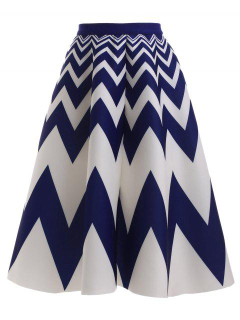 fashion High Waisted Zig Zag Skirt - BLUE AND WHITE ONE SIZE Mobile