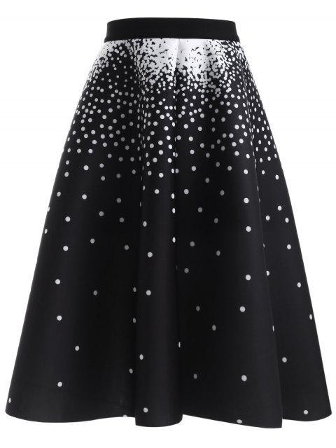 fancy Polka Dot High Waisted Skirt - BLACK ONE SIZE Mobile