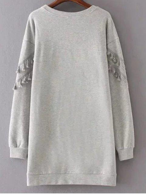 outfits Fringed Grey Sweatshirt Dress - GRAY M Mobile