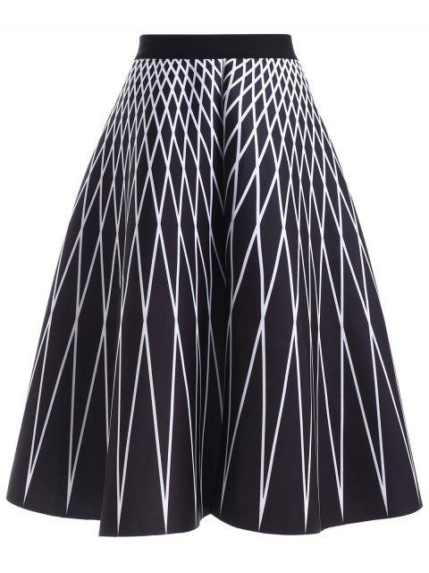affordable High Waisted Geometric Print Skirt -   Mobile