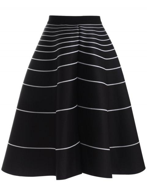 women Stripe High Waisted Skirt - BLACK ONE SIZE Mobile