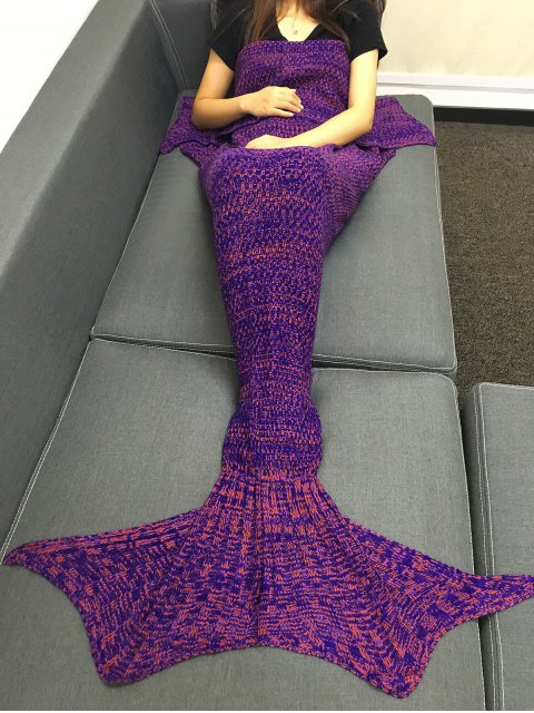 womens Multicolor Knitting Fish Tail Design Blanket - PURPLE  Mobile