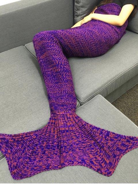 Multicolor Tricot Fish Tail Design Blanket - Pourpre  Mobile