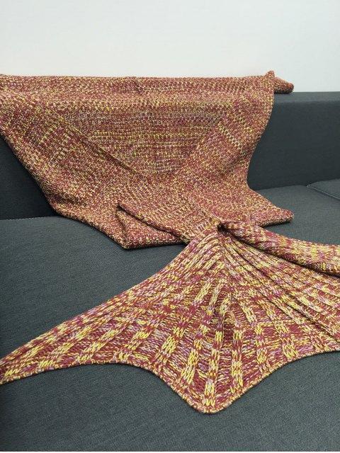 women Multicolor Knitting Fish Tail Design Blanket - SWEET ORANGE  Mobile