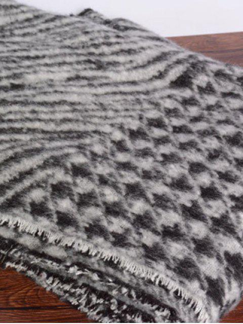 buy Houndstooth Zebra Stripe Scarf - BLACK  Mobile