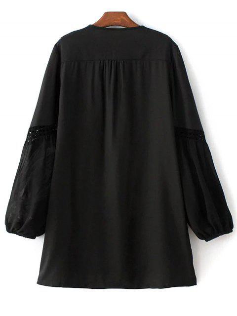 shops Crochet Trim Semi Sheer Dress - BLACK L Mobile