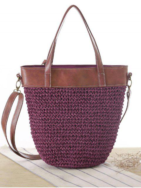 Bolso de empalme tejidos de paja - Púrpura  Mobile