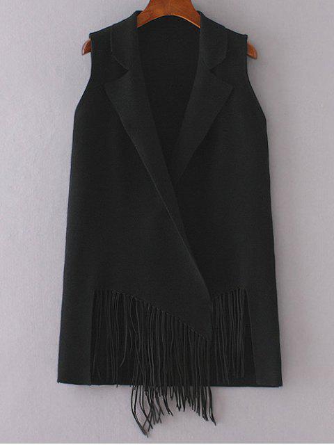 women Fringed Knitted Lapel Waistcoat - BLACK ONE SIZE Mobile