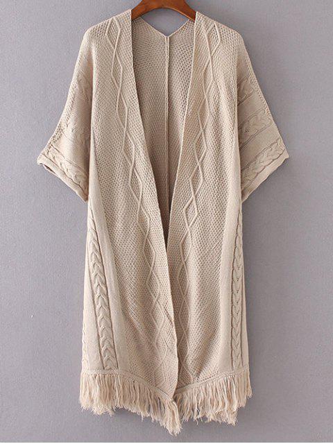 womens Kimono Sleeve Open Cardigan - KHAKI ONE SIZE Mobile