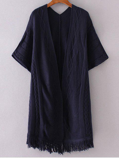 Ouvrez Kimono avant manches Cardigan - Bleu Violet TAILLE MOYENNE Mobile