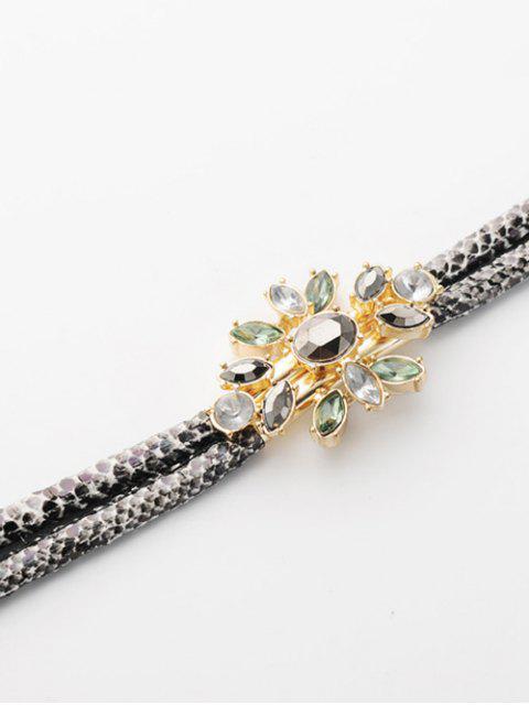 affordable PU Leather Faux Crystal Bracelet - GOLDEN  Mobile
