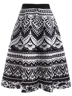 Printed Back Zipper High Waisted Skirt - Black