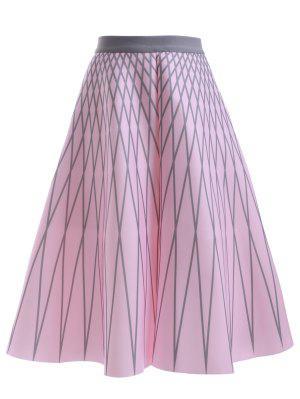 High Waisted Geometric Pattern Skirt - Pink