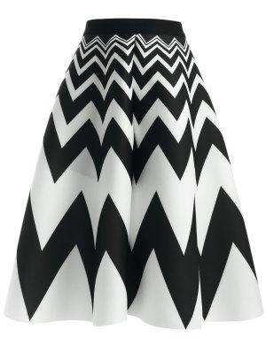 Zig Zag High Waisted Skirt - White And Black