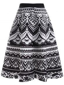 Printed Back Zipper High Waisted Skirt - Black
