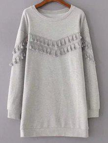 Fringed Grey Sweatshirt Dress - Gray S