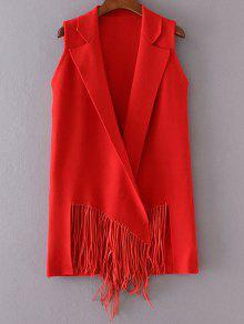 طية صدر السترة محبوك مهدب صدرية - أحمر