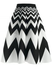 El Zigzag De La Falda De Talle Alto - Blanco Y Negro