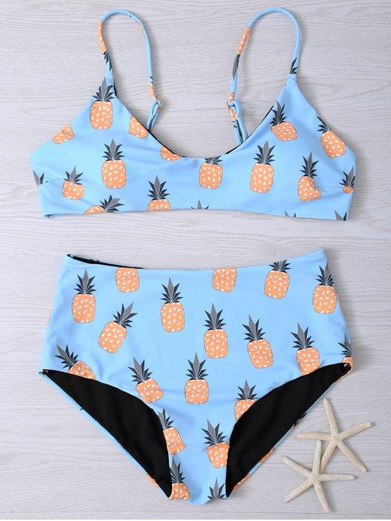 Bikini à bretelle spaghetti imprimé d'ananas - Bleu clair XL