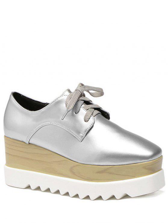 fashion Square Toe Lace-Up Platform Shoes - SILVER 40