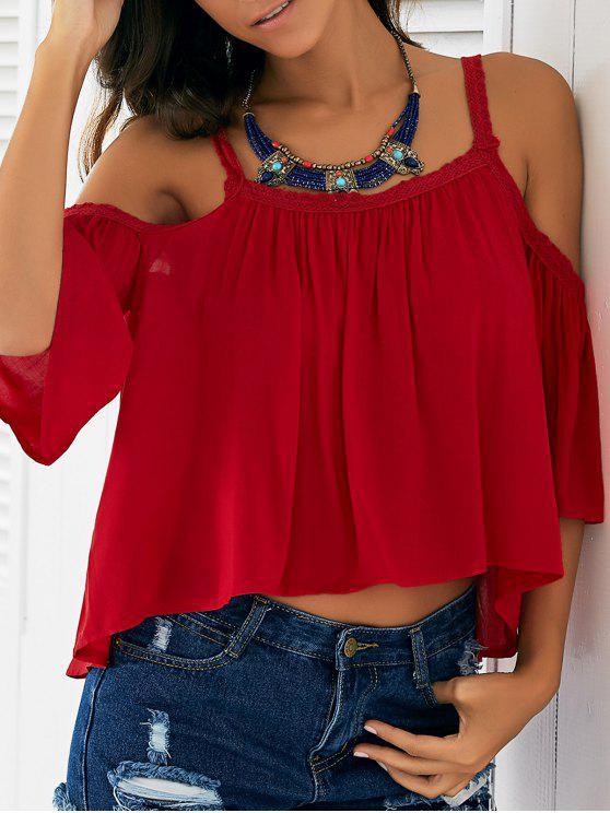 shops Cold Shoulder Blouse - RED S