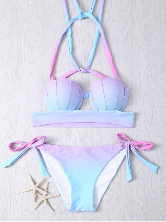 shops Halter Ombre Underwire Seashell Bikini Set - COLORMIX M