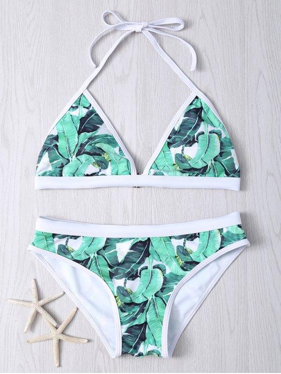 Bikinis à bretelles imprimé plante - Vert L