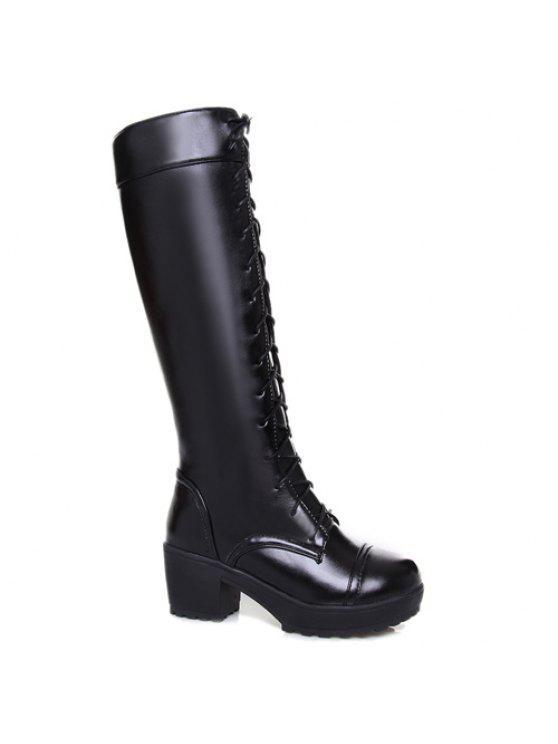 Elegante frente de cordones y diseño del talón botas de caña alta gruesos para las mujeres - Negro 42