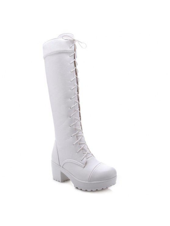 Elegante frente de cordones y diseño del talón botas de caña alta gruesos para las mujeres - Blanco 43