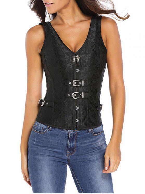 fashion Jacquard V Neck Back Lace Up Corset - BLACK 2XL