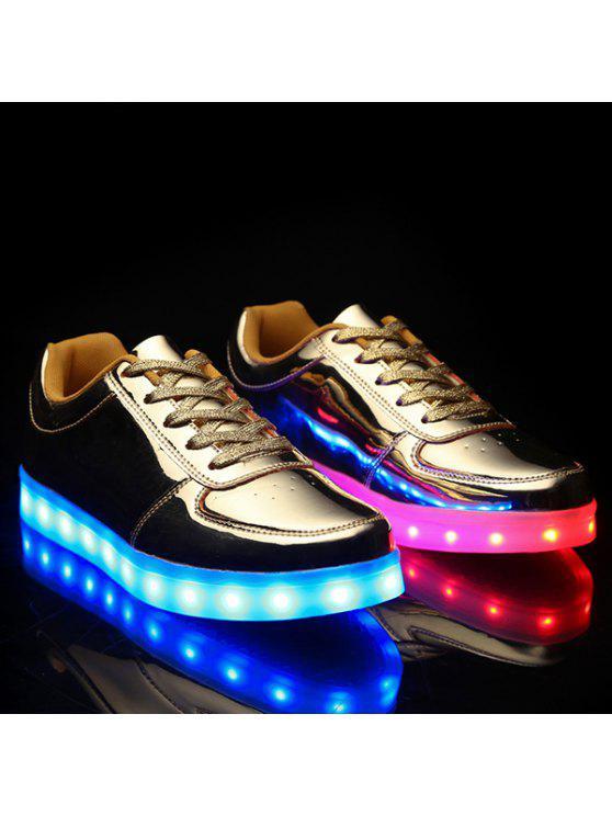 عصري تضيء الصمام مضيئة والمعادن تصميم اللون أحذية عادية للرجال - ذهبي 40