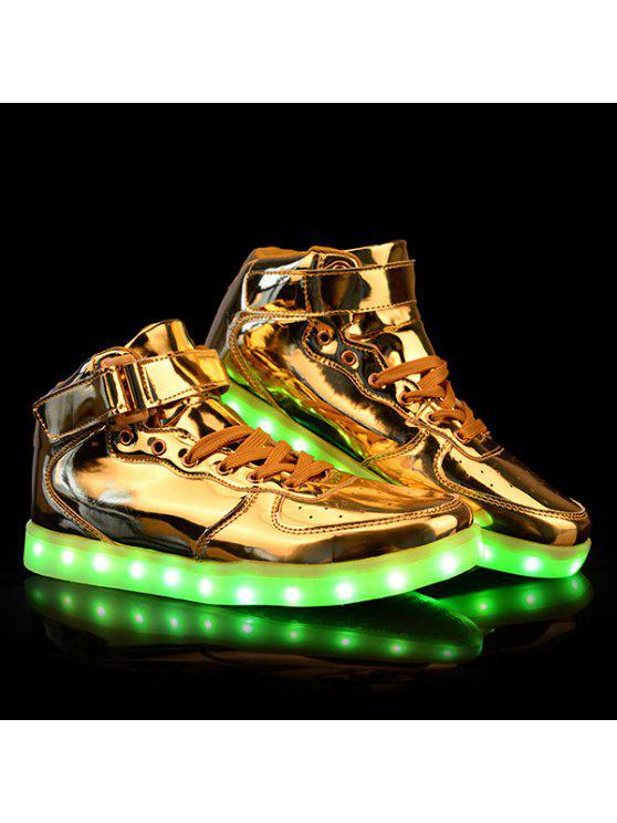 أنيق التعادل يصل و تضيء ليد مضيئة تصميم عارضة أحذية للرجال - ذهبي 44