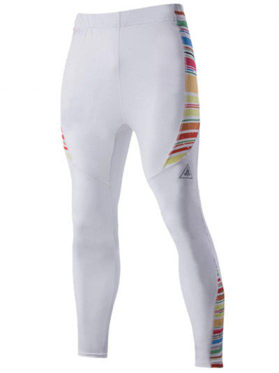 De secado rápido de las rayas de impresión-tipo pantalones elásticos de la cintura deportivas para hombres - Blanco L