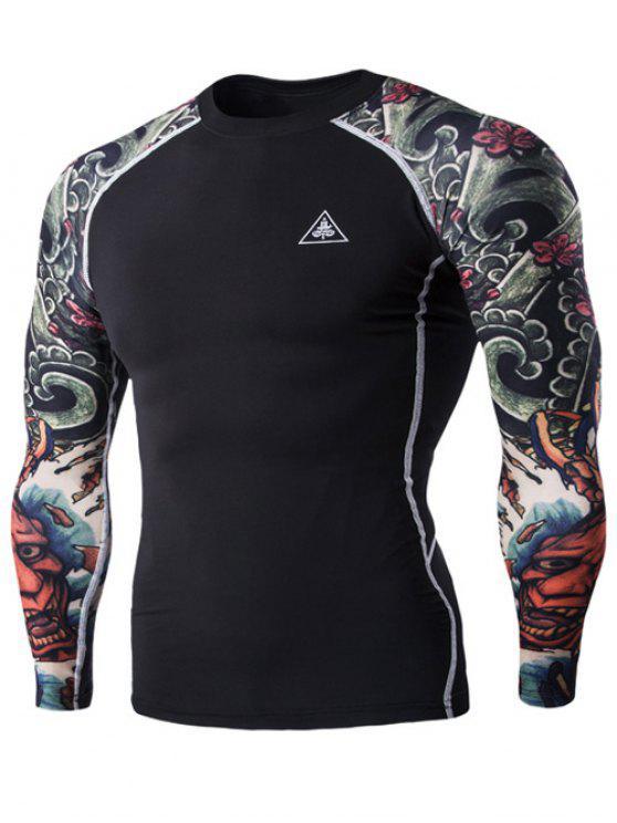 3D-Druck-Rundhalsausschnitt mit langen Ärmeln Quick-Dry T-Shirt für Männer - Schwarz XL