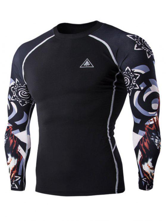 3D Lobo cabeça de impressão em torno do pescoço de manga comprida de compressão T-shirt For Men - Preto M