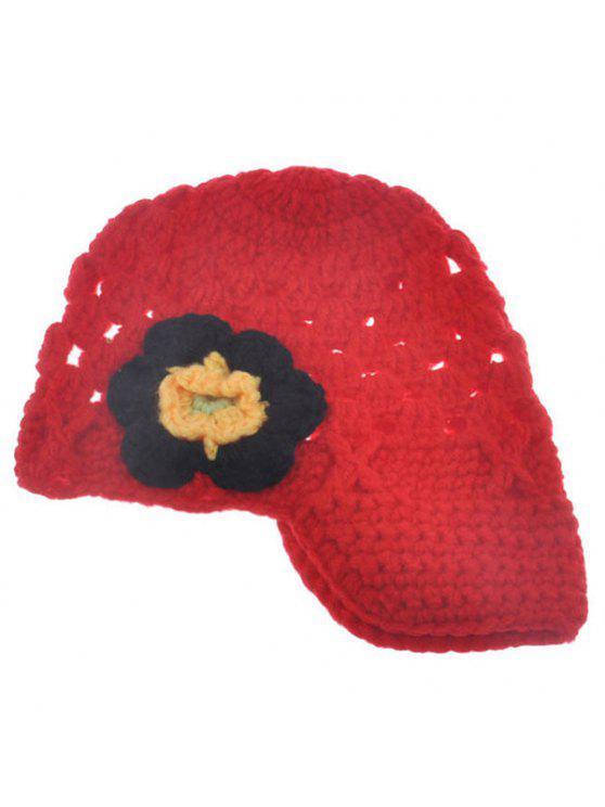 أنيق زهرة شكل مزين محبوك قبعة محبوك للأطفال - أحمر