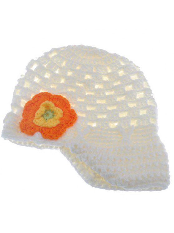 أنيق زهرة شكل مزين محبوك قبعة محبوك للأطفال - أبيض