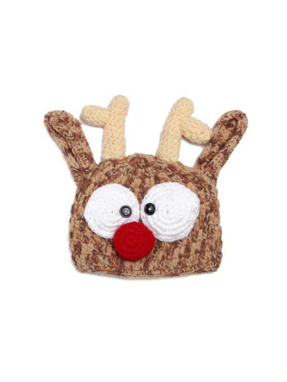 أنيق لطيف رئيس الغزلان شكل الكروشيه محبوك قبعة للأطفال - قهوة