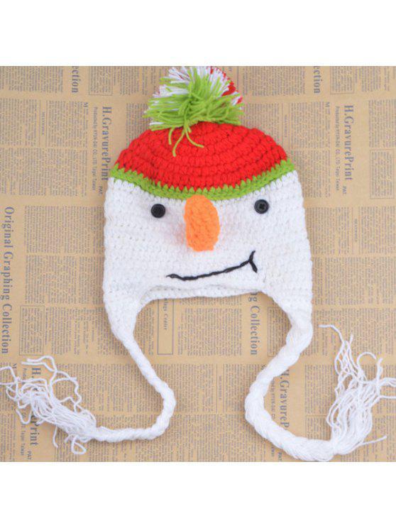 أنيق لطيف ثلج الشكل الكروشيه محبوك قبعة للأطفال - أبيض