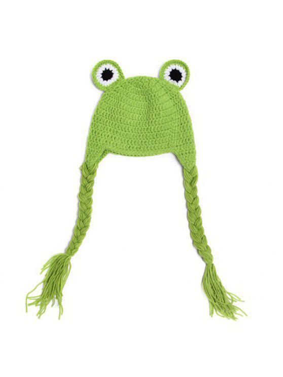 أنيق لطيف الضفدع شكل الكروشيه شرابة محبوك قبعة للأطفال التصوير - GREEN