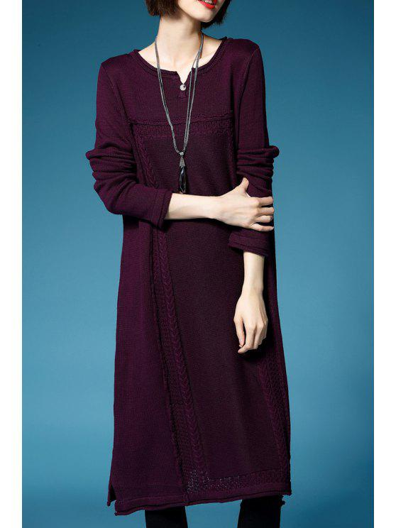 29eaaad38d44 2019 Cable Knit Midi Sweater Dress In PURPLE ONE SIZE(FIT SIZE XS TO ...