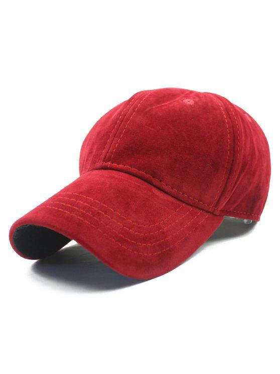 women Adjustable Buckle Faux Suede Baseball Hat - RED