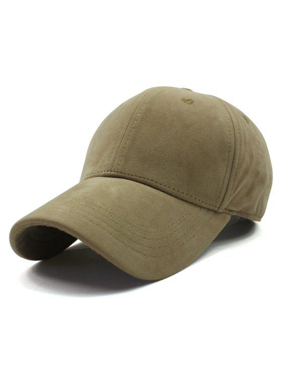 lady Adjustable Buckle Faux Suede Baseball Hat - LIGHT KHAKI