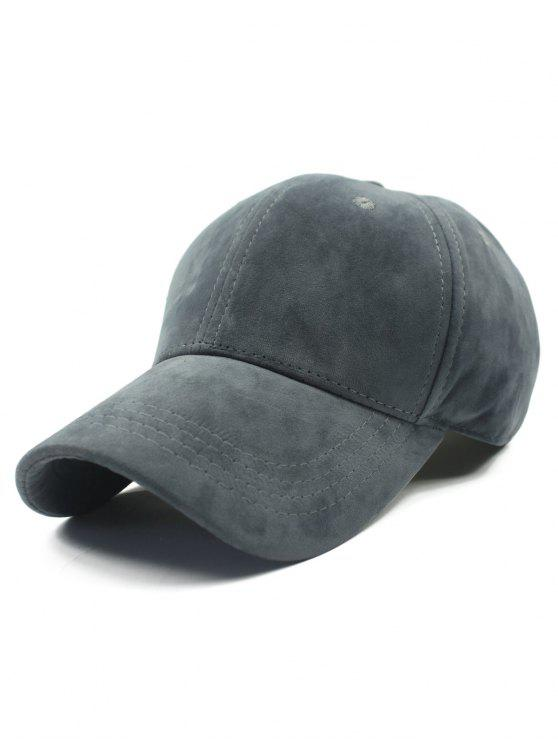 new Adjustable Buckle Faux Suede Baseball Hat - DEEP GRAY