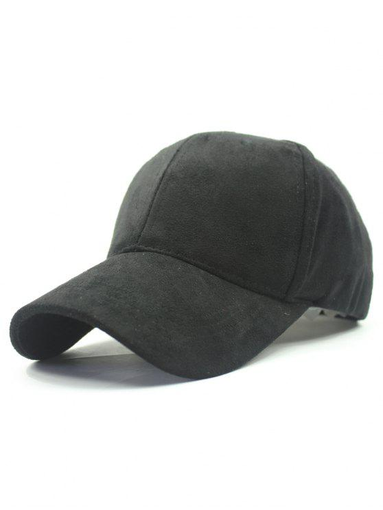 outfits Solid Color Faux Suede Baseball Hat - BLACK